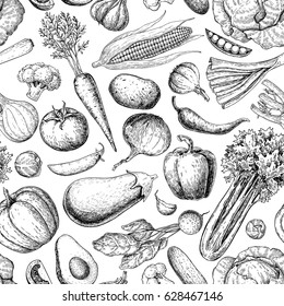 Vegetable seamless pattern. Hand drawn vintage vector background. Vegetarian set of farm market products. Detailed organic food drawing. Great for menu, poster, print, wallpaper, fabric