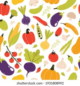 Vegetable seamless pattern. Healthy food background. Tomato, bell pepper, broccoli, garlic, zucchini, cherry tomato, pumpkin, onion... Organic, fresh, delicious vegetables. Flat vector illustration.