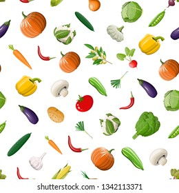 Vegetable seamless pattern. Onion, eggplant, cabbage, pepper, pumpkin, cucumber, tomato carrot and other vegetables. Organic healthy food. Vegetarian nutrition. Vector illustration in flat style