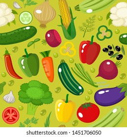 Vegetable seamless pattern. Vector illustration