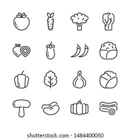 Vegetable simple outline icon set.Vector illustration