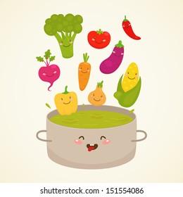 Vegetable soup: broccoli, carrot, tomato, pepper, onion, chili, eggplant, corn, beet