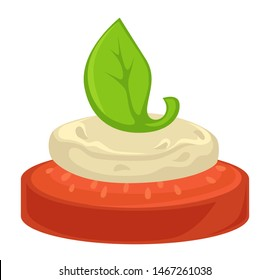 Vegetable tomato with white sauce and basil leaf isolated dish vector cooking and culinary recipe vegetarian dish ingredients organic food, and nutrition snack or appetizer buffet table meal or canape