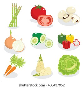 vegetable vector, cartoon style