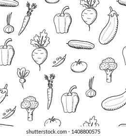 Vegetable vector. Doodle vegetables texture. Seamless fashion design.