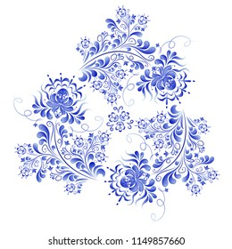 Vegetable vector fragment, an abstract design made in the technique of Russian folk art Gzhel