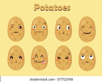 Vegetable Vector - Potato Cartoon with Different Expressions