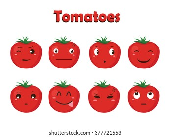 Vegetable Vector - Tomato Cartoon with Different Expressions
