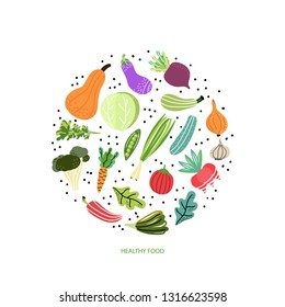 Vegetables arranged in circle.Modern hand drawn style. Concept of healthy eating and lifestyle. Vector Illustration.