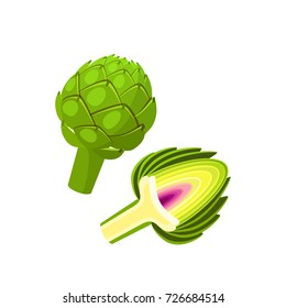 Vegetables. Artichoke, whole and half. Vector illustration cartoon flat icon isolated on white.