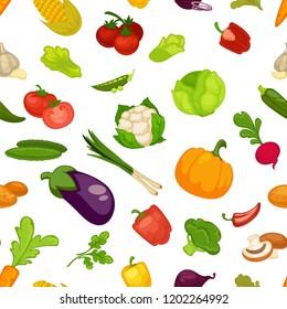 Vegetables aubergine and pumpkin set seamless pattern vector.