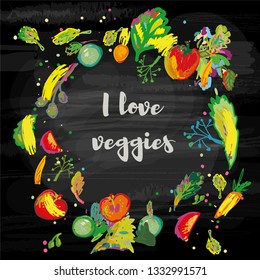 Vegetables background on the blackboard - for the vegan menu or card. Sketchy style, vector graphic illustration