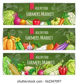 Vegetables banners. Farmers sketch veggies cabbage, onion, radish and tomato, peas and broccoli, leek and carrot, cauliflower and pumpkin, pepper, cucumber and garlic, eggplant, beet, corn, asparagus