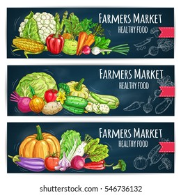 Vegetables banners with harvest ripe. Vector cabbage, cucumber, tomato and eggplant, kohlrabi, onion and corn, pumpkin and zucchini, radish and leek. Chalk sketched healthy vegetables on chalkboard