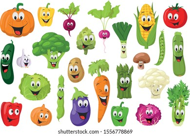 Vegetables Characters Collection: Set of 26 different vegetables in cartoon style Vector illustration