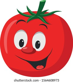 Vegetables Characters Collection: Vector illustration of a funny and smiling tomato in cartoon style.