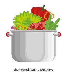 vegetables cooking in kitchen pot