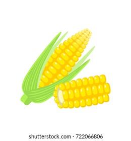Vegetables. Corn cob with leaves. Vector illustration cartoon flat icon isolated on white.