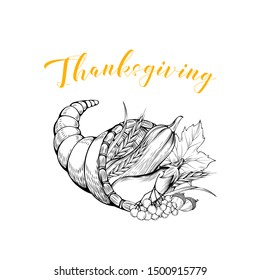 Vegetables cornucopia basket black and white illustration. Thanksgiving greeting card design element. Autumn season holiday postcard concept with calligraphy. Wooden pottle with harvest engraving