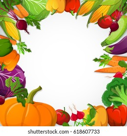 Vegetables decorative frame with pumpkin paprika corn broccoli beet carrot tomato cabbage on white background vector illustration