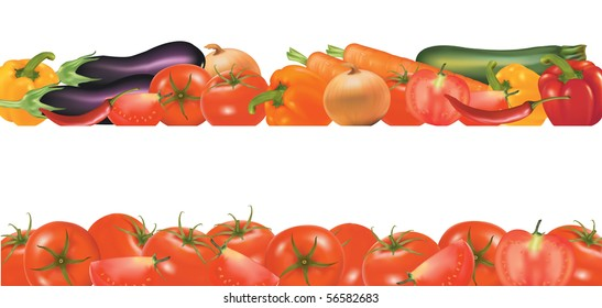 Vegetables design borders isolated on white.  Photo-realistic vector.