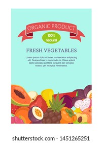 Vegetables and fruit set of banners vector illustration. Organic and natural, fresh food products. Banana, watermelon, grapes, pineapple and lemon. Healthy eating. Vitamins.