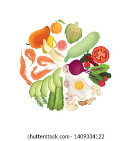 Vegetables, fruits, berries, shrimps, eggs, nuts are lined in a circle by color. Vector illustration on white background.
