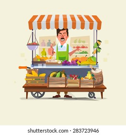 vegetables and fruits cart with seller character design. market cart. Green Carts sell only fresh fruits and vegetables. promote healthy eating concept - vector illustration
