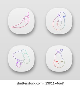 Vegetables and fruits cute kawaii app characters set. Persevere chili pepper, serious pear. Avocado, broccoli with smiling faces. Funny emoji, emoticon, smile. Vector isolated illustration
