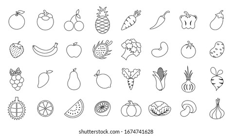 Vegetables and fruits flat icon collection set isolated on white background.Drawing outline stroke.Design for colouring art book ,print.Vector.Illustration.