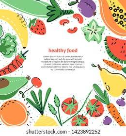 Vegetables and fruits hand drawn illustratoin. Healthy meal, diet, nutrition. Organic food restaurant and support farmers market concept. Vegetables in square composition with place for your text.