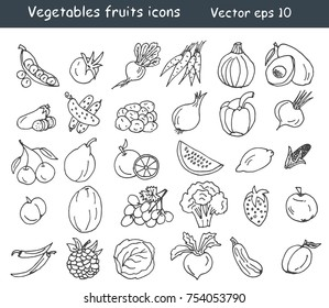 Vegetables fruits icons set. Vector eps 10.