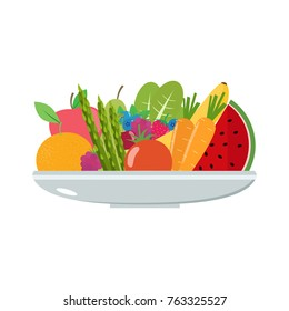 Vegetables and fruits on a plate. Healthy food vector illustration.