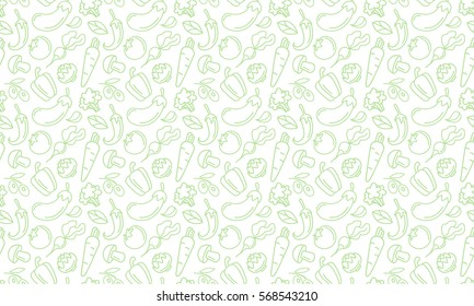 Vegetables and fruits Seamless hand drawn doodle pattern. Illustration for backgrounds, card, posters, banners, textile prints, cover, web design. Eat healthy. Vector icons.