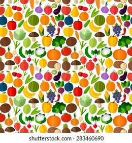 Vegetables and fruits seamless pattern background. Colorful template for cooking, restaurant menu and vegetarian food
