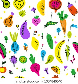 Vegetables and fruits seamless pattern, funny sketchy design. Vector graphic illustration