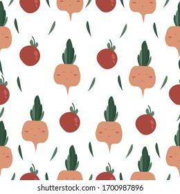 Vegetables funny seamless pattern. Vector illustration tomatos radish. Trendy flat style design seamless pattern stock vector illustration for wrapping paper, textile, wallpaper, textile