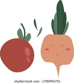 Vegetables funny set Vector illustration tomatos and radish. Trendy flat style design seamless pattern stock vector illustration for wrapping paper, textile, wallpaper, textile