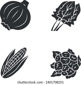 Vegetables glyph icon. Cauliflower, onion, corn, spinach. Vitamin and diet. Healthy nutrition. Salad ingredient. Silhouette symbol. Negative space. Vector isolated illustration