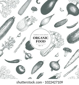 Vegetables hand drawn vector seamless pattern. Banner template. Vintage Vegetable engraved style background. Can be use for menu, label, packaging, farm market