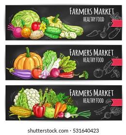 Vegetables healthy food banners with cabbage, cauliflower, pumpkin, pepper, cucumber, garlic, eggplant, beet, corn, asparagus, onion, radish, tomato, peas, broccoli, carrot, cauliflower