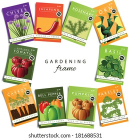 Vegetables and herbs seed packet frame  EPS 10 vector, grouped for easy editing. No open shapes or paths.