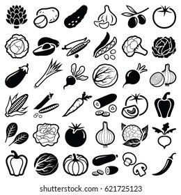 Vegetables icon collection - vector silhouette illustration