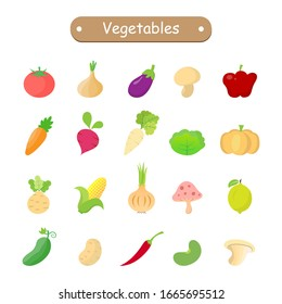 Vegetables icon (lemon ,tomato ,pumpkin ,eggplant ,carrot ,mushroom ,cucumber ,onion ,bean ,chickpea ,potato ,cabbage ,radish ,zucchini ,garlic ,beetroot ,corn ,bell pepper) isolated on white.