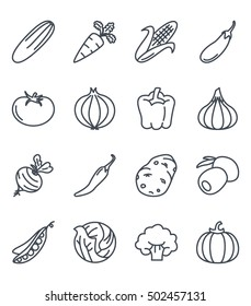 vegetables icon set outlined food