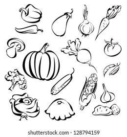 vegetables icon set sketch vector illustration