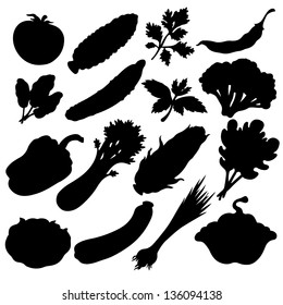 Vegetables icons set black silhouette isolated on a white background. Abstract design logo. Logotype art - vector