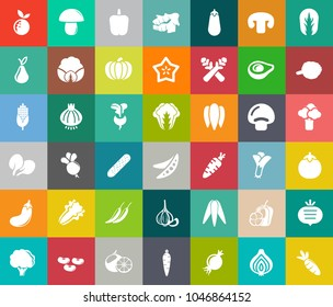 vegetables icons in set collection for design. Vegetables and vitamins symbols web illustration.