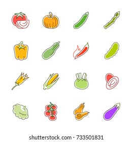 Vegetables icons - Tomato, cucumber and chili