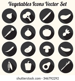 Vegetables Icons Vector Set, Black and White Silhouettes - flat design eps 10